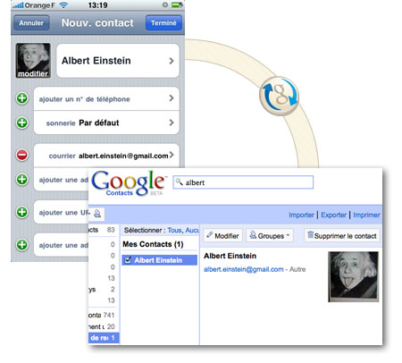 synchro google contacts